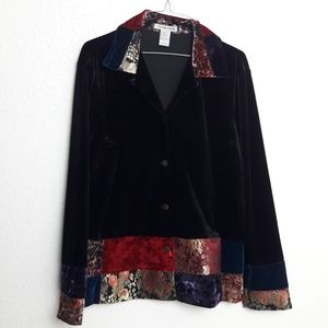 Notations L Velvet like Button Up Patchwork Blouse